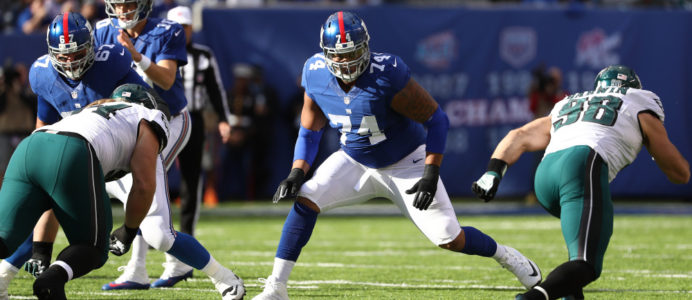 Ereck Flowers #74 of the New York Giants